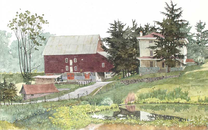 Kuerner's Barn, House, and Pond by Eddie Flotte