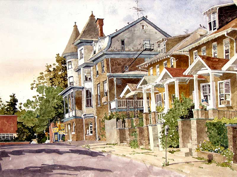 Watercolor Painting by Eddie Flotte: Wyndham Hotel Amber, PA