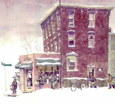 Watercolor Painting by Eddie Flotte: Ambler Paper Boys