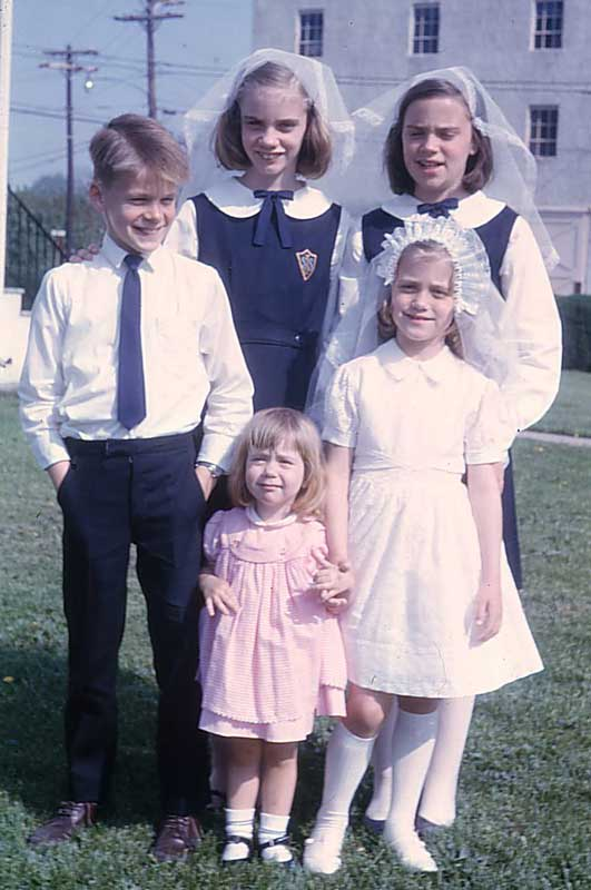 Eddie and his Sisters on the Rectory Lawn