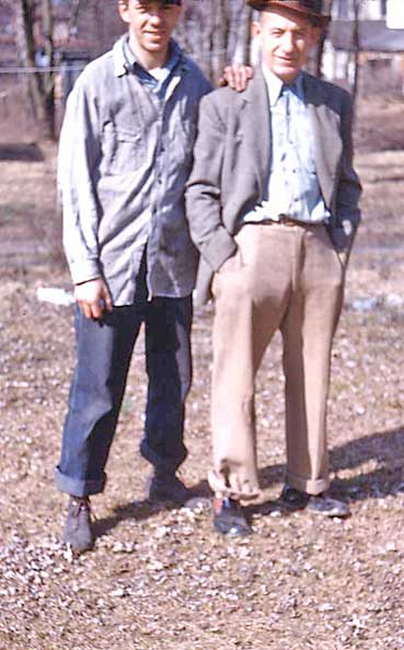 Eddie's Father & Grandfather in their Backyard
