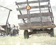 Painting by Eddie Flotte: Bale Loader And Hay Wagon