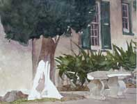 Painting by Eddie Flotte: Bench at Seabury Hall