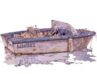 Painting by Eddie Flotte: Boat in Propriano