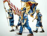 Painting by Eddie Flotte: Boy Scouts on Parade