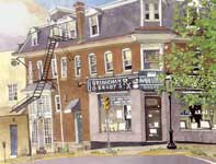 Painting by Eddie Flotte: Brenneman and Brady's Drug Store