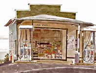 Painting by Eddie Flotte: Ching Store