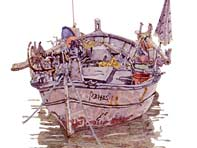 Painting by Eddie Flotte: Corsican Boat