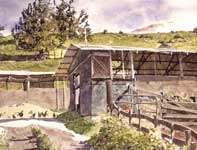 Painting by Eddie Flotte: Dairy Farm with Roosters