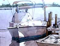 Painting by Eddie Flotte: Fishing Boat with Flags