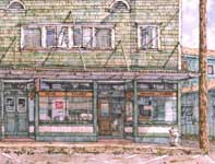 Painting by Eddie Flotte: Hew Store with 7up Sign