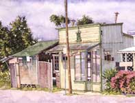 Painting by Eddie Flotte: Kitada's with Pink Bushes