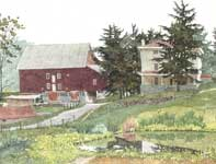Painting by Eddie Flotte: Kuerner's Barn, House, and Pond