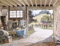 Painting by Eddie Flotte: Looking Out From The Barn
