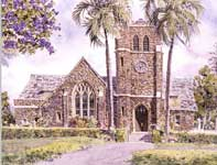 Painting by Eddie Flotte: Makawao Union Church