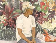 Painting by Eddie Flotte: Man by the Ti Leaves