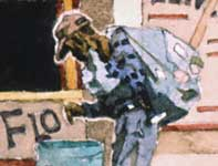 Painting by Eddie Flotte: Man Collecting Tin Cans Venice Beach