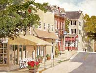 Painting by Eddie Flotte: McFarland's Bicycle Shop
