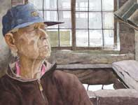Painting by Eddie Flotte: Mr Kuerner at the Spring Fed Trough