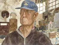 Painting by Eddie Flotte: Mr Kuerner In His Barn