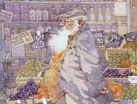 Painting by Eddie Flotte: Paris Man at the Fruit Stand