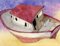 Painting by Eddie Flotte: Red and White Sky Boat