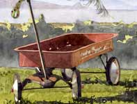 Painting by Eddie Flotte: Red Wagon