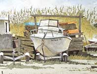 Painting by Eddie Flotte: Sea Oats And Forgotten Boats