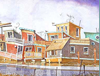 Painting by Eddie Flotte: Sinking Houseboats