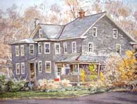 Painting by Eddie Flotte: Slate Shingle House Spring Mount