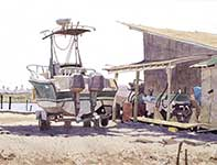 Painting by Eddie Flotte: Somers Point Boat Yard