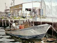 Painting by Eddie Flotte: Somers Point Minnow Boat