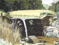 Painting by Eddie Flotte: Spillway On Kuerner's Pond