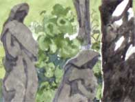 Painting by Eddie Flotte: Statues in the Cemetery