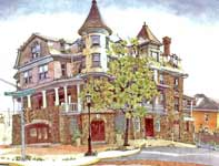 Painting by Eddie Flotte: Wyndham Front Entrance